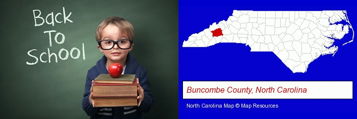 the back-to-school concept; Buncombe County, North Carolina highlighted in red on a map
