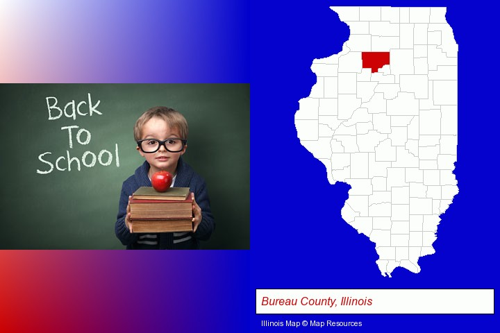 the back-to-school concept; Bureau County, Illinois highlighted in red on a map