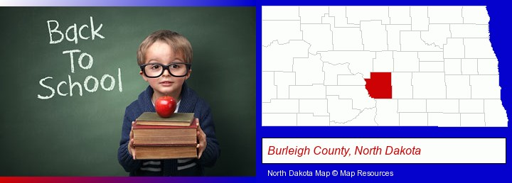 the back-to-school concept; Burleigh County, North Dakota highlighted in red on a map