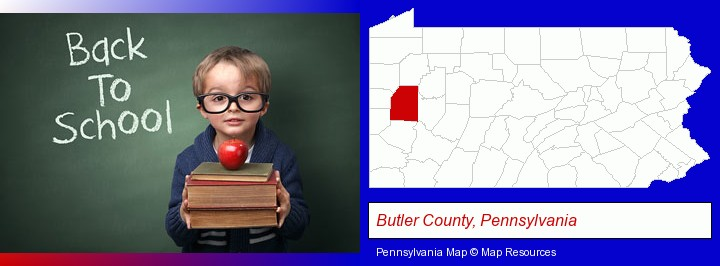 the back-to-school concept; Butler County, Pennsylvania highlighted in red on a map