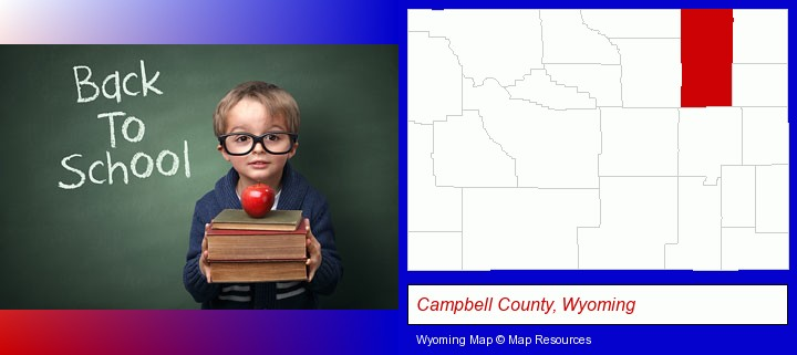 the back-to-school concept; Campbell County, Wyoming highlighted in red on a map