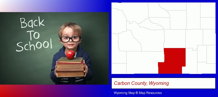 the back-to-school concept; Carbon County, Wyoming highlighted in red on a map