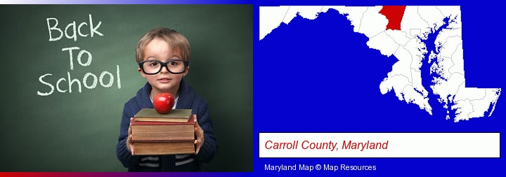 the back-to-school concept; Carroll County, Maryland highlighted in red on a map