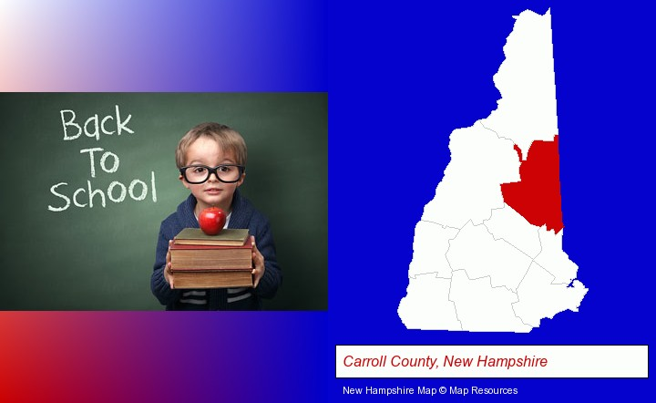 the back-to-school concept; Carroll County, New Hampshire highlighted in red on a map