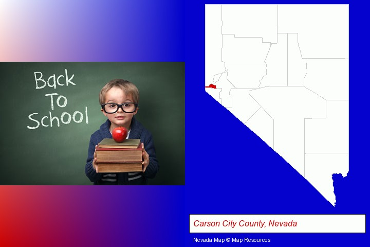 the back-to-school concept; Carson City County, Nevada highlighted in red on a map