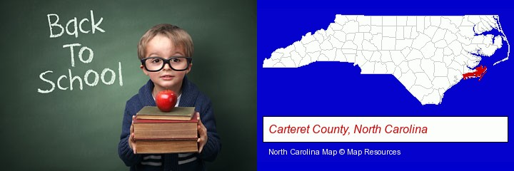 the back-to-school concept; Carteret County, North Carolina highlighted in red on a map