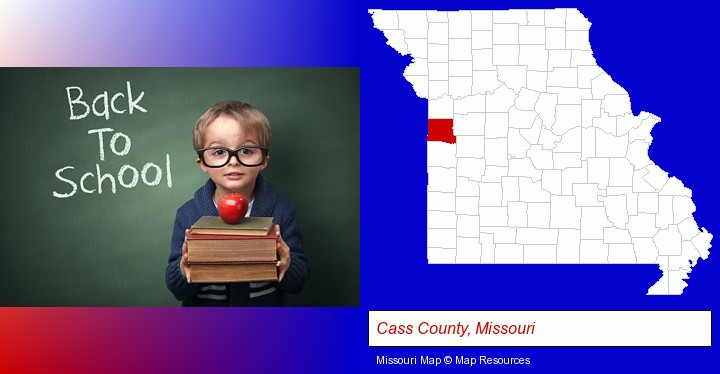 the back-to-school concept; Cass County, Missouri highlighted in red on a map