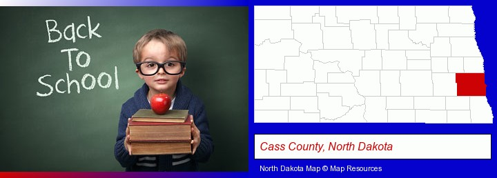 the back-to-school concept; Cass County, North Dakota highlighted in red on a map