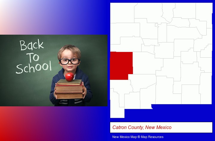 the back-to-school concept; Catron County, New Mexico highlighted in red on a map