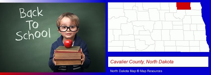 the back-to-school concept; Cavalier County, North Dakota highlighted in red on a map