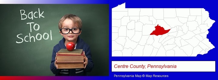 the back-to-school concept; Centre County, Pennsylvania highlighted in red on a map