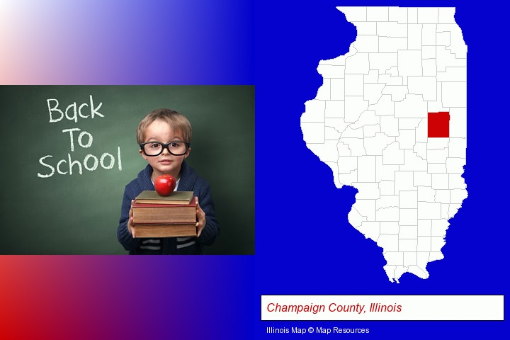 the back-to-school concept; Champaign County, Illinois highlighted in red on a map