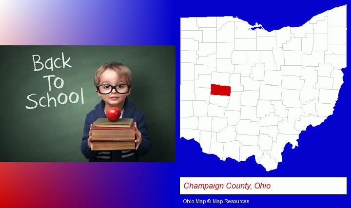 the back-to-school concept; Champaign County, Ohio highlighted in red on a map