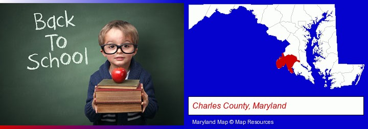 the back-to-school concept; Charles County, Maryland highlighted in red on a map