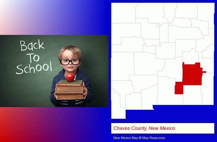 the back-to-school concept; Chaves County, New Mexico highlighted in red on a map