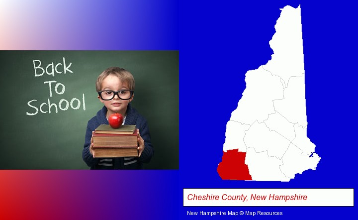 the back-to-school concept; Cheshire County, New Hampshire highlighted in red on a map