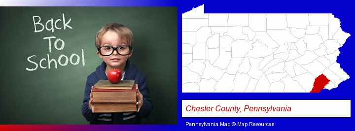 the back-to-school concept; Chester County, Pennsylvania highlighted in red on a map