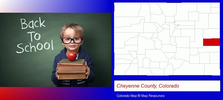 the back-to-school concept; Cheyenne County, Colorado highlighted in red on a map