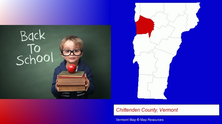 the back-to-school concept; Chittenden County, Vermont highlighted in red on a map