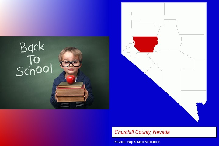 the back-to-school concept; Churchill County, Nevada highlighted in red on a map