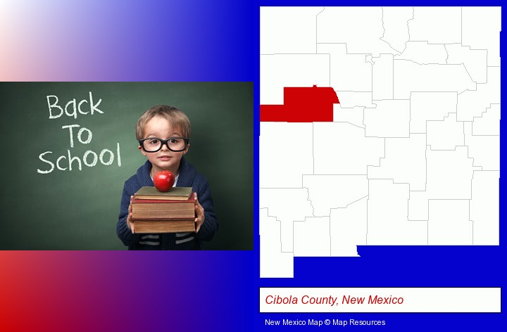 the back-to-school concept; Cibola County, New Mexico highlighted in red on a map