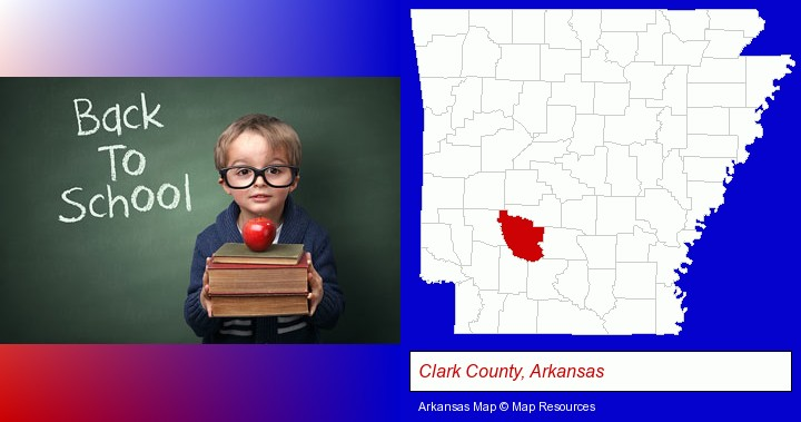 the back-to-school concept; Clark County, Arkansas highlighted in red on a map