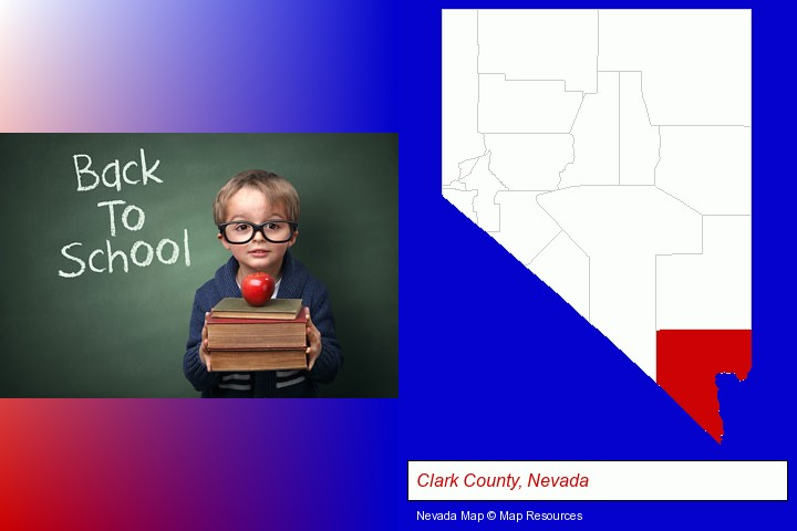 the back-to-school concept; Clark County, Nevada highlighted in red on a map
