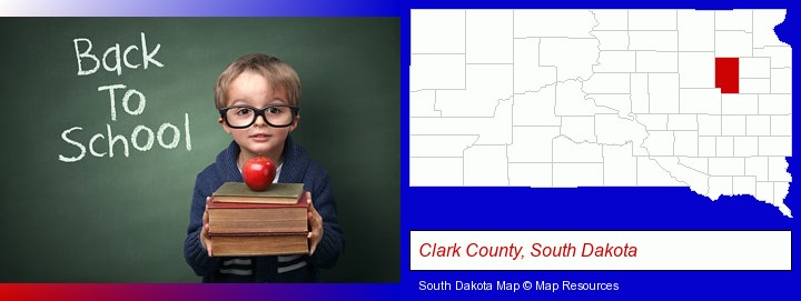 the back-to-school concept; Clark County, South Dakota highlighted in red on a map
