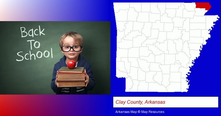 the back-to-school concept; Clay County, Arkansas highlighted in red on a map