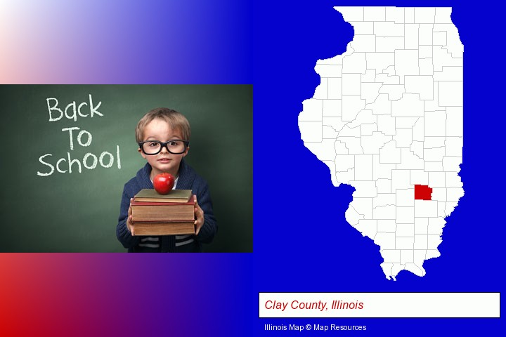 the back-to-school concept; Clay County, Illinois highlighted in red on a map