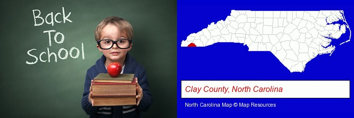 the back-to-school concept; Clay County, North Carolina highlighted in red on a map