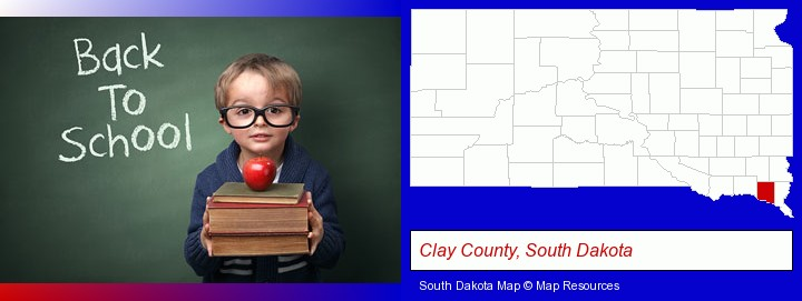the back-to-school concept; Clay County, South Dakota highlighted in red on a map