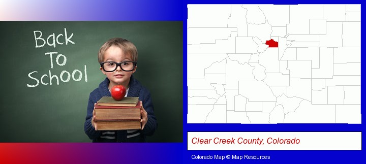 the back-to-school concept; Clear Creek County, Colorado highlighted in red on a map
