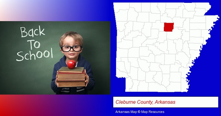 the back-to-school concept; Cleburne County, Arkansas highlighted in red on a map