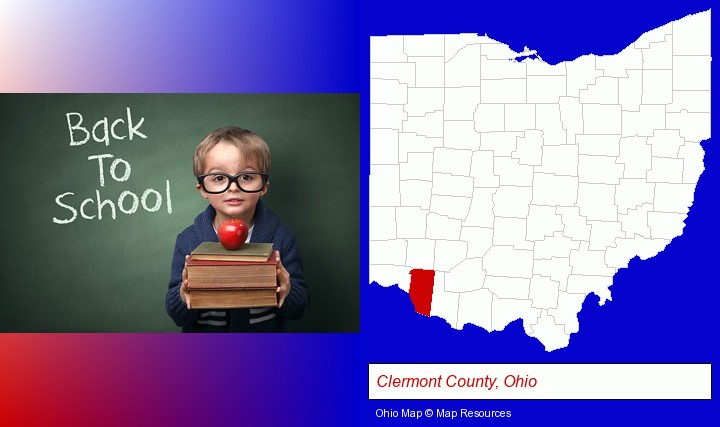 the back-to-school concept; Clermont County, Ohio highlighted in red on a map