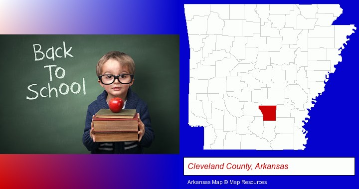 the back-to-school concept; Cleveland County, Arkansas highlighted in red on a map
