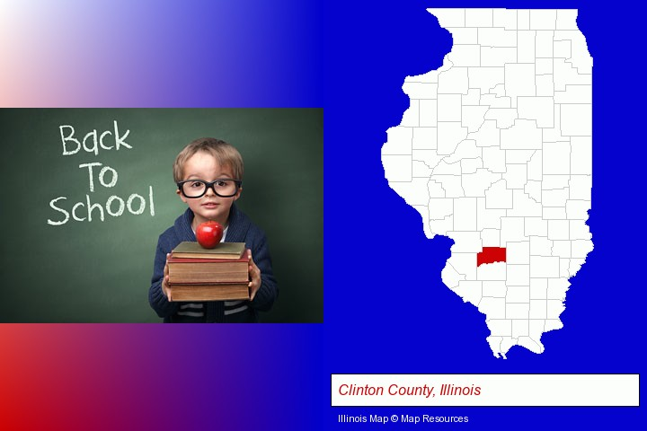 the back-to-school concept; Clinton County, Illinois highlighted in red on a map