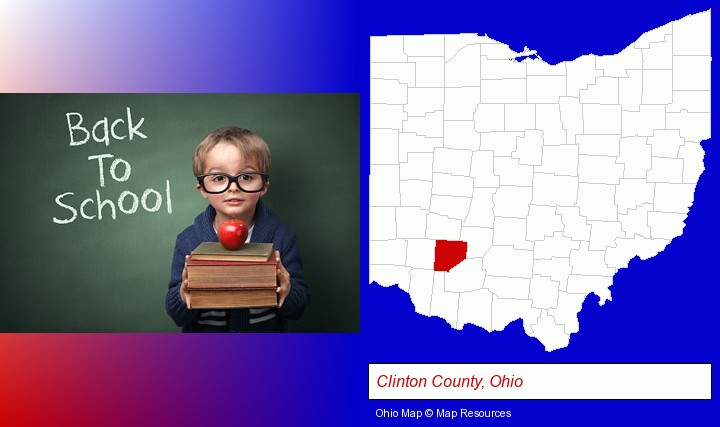 the back-to-school concept; Clinton County, Ohio highlighted in red on a map