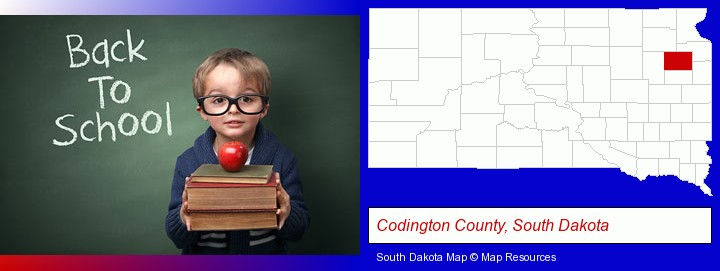 the back-to-school concept; Codington County, South Dakota highlighted in red on a map