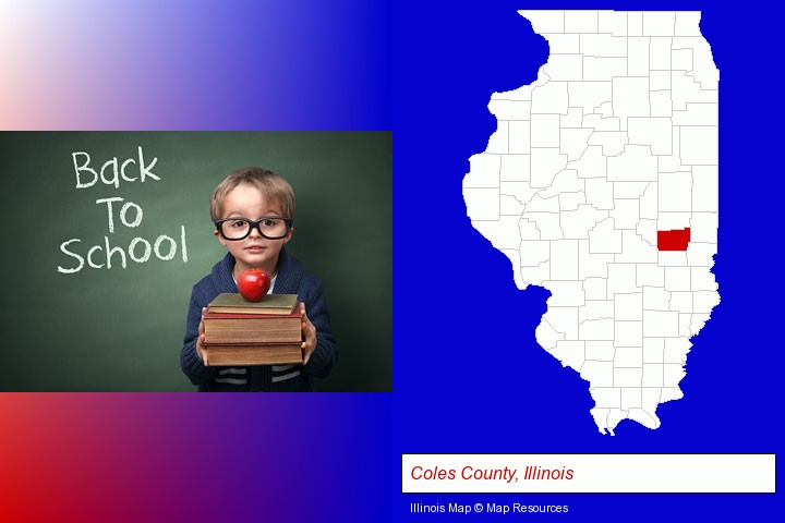 the back-to-school concept; Coles County, Illinois highlighted in red on a map