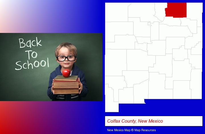 the back-to-school concept; Colfax County, New Mexico highlighted in red on a map