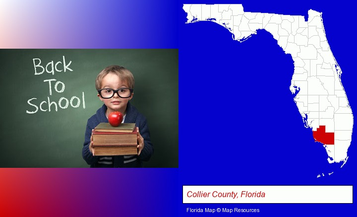 the back-to-school concept; Collier County, Florida highlighted in red on a map