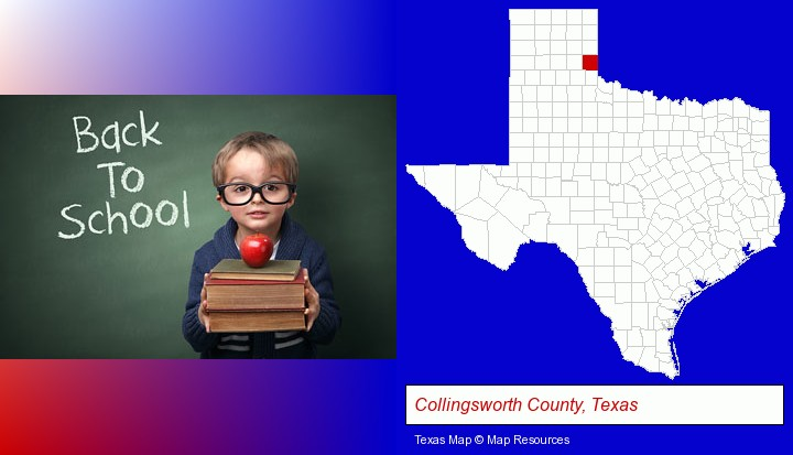 the back-to-school concept; Collingsworth County, Texas highlighted in red on a map