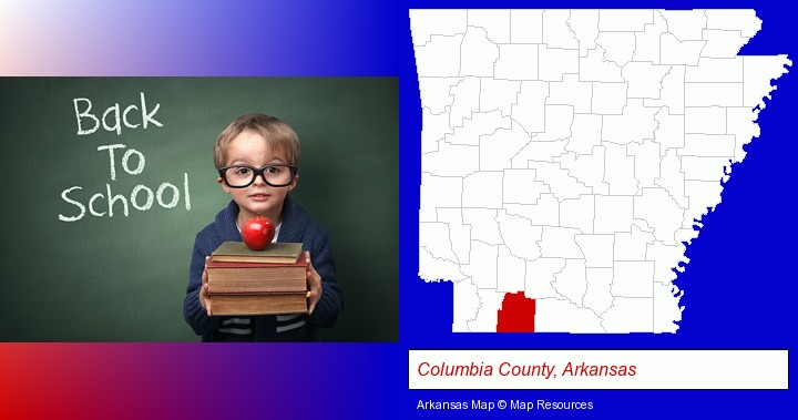 the back-to-school concept; Columbia County, Arkansas highlighted in red on a map