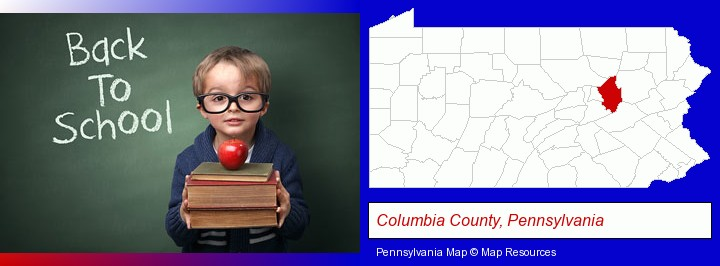 the back-to-school concept; Columbia County, Pennsylvania highlighted in red on a map