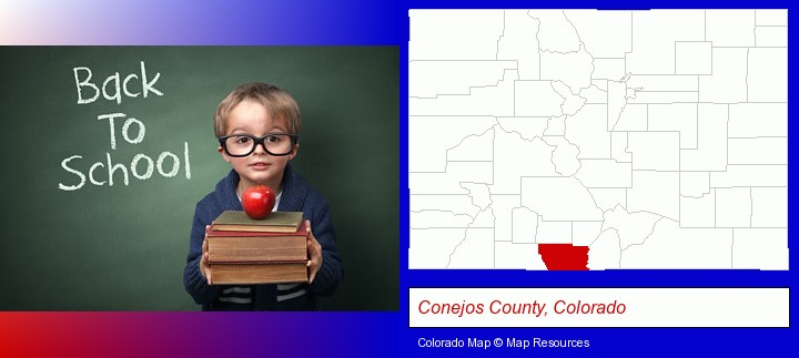 the back-to-school concept; Conejos County, Colorado highlighted in red on a map
