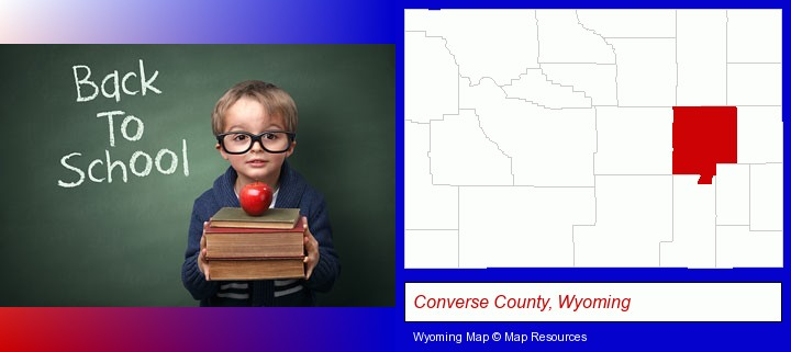 the back-to-school concept; Converse County, Wyoming highlighted in red on a map