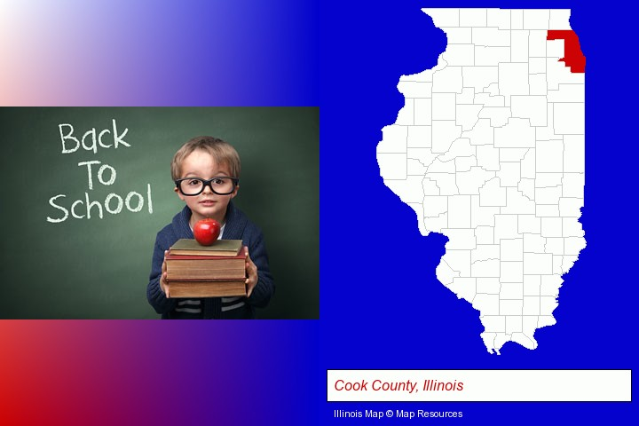 the back-to-school concept; Cook County, Illinois highlighted in red on a map