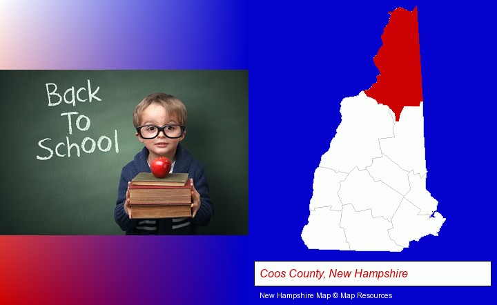 the back-to-school concept; Coos County, New Hampshire highlighted in red on a map
