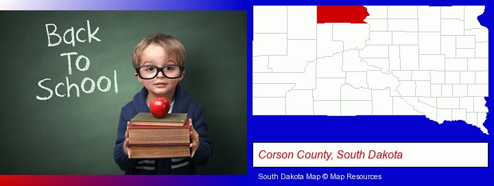 the back-to-school concept; Corson County, South Dakota highlighted in red on a map